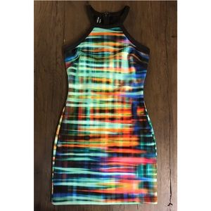 Bebe Colorful Print Party Dress